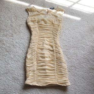 Ruched Cream Lace Formal Dress